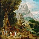 Kunsthistorisches Museum - Herri met de Bles (c. 1510-after 1550) -- Landscape with John the Baptist Preaching