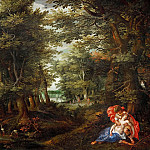 Alsloot,Denys van -- Wooded landscape with Cephalus and Procris, 1608 Figures by H.de Clerck. Oakwood, 75 x 105 cm Inv. 1077, Kunsthistorisches Museum