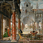 Hans Vredeman de Vries -- Palace with Distinguished Visitors, Kunsthistorisches Museum