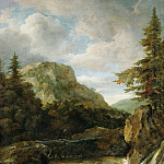 Mountain Landscape with Waterfall, Jacob Van Ruisdael