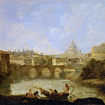 Kunsthistorisches Museum - Claude-Joseph Vernet -- Castel Sant' Angelo and St. Peter's church, Rome