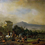 Kunsthistorisches Museum - Philips Wouwerman -- Attack on a line of coaches