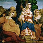 Jacopo Palma, il vecchio -- The Virgin Mary with Child and Saints Catherine and Coelestin, John the Baptist and Barbara, Kunsthistorisches Museum