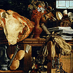 Aertsen,Pieter -- Vanitas. Still-life. In the background Jesus with Saint Mary Magdalen und Saint Martha, sisters of Lazarus. Oil on oakwood 60 x 101.5 cm Inv. 6927, Kunsthistorisches Museum