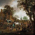 Coach in Front of a Village Pub, Adriaen Van Ostade