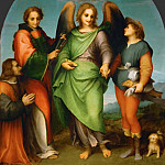 Andrea del Sarto -- Archangel Raphael with Tobias, Saint Lawrence, and the Donor Leonardo di Lorenzo Morelli, Kunsthistorisches Museum