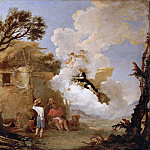 Kunsthistorisches Museum - Salvator Rosa (1615-1673) -- Astrea, Goddess of Agriculture and Fertility, Turns Away from Earth and Leaves Scales and Sword to the Shepherds