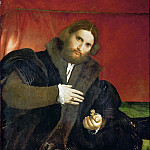 Man with a golden animal claw (Leonino Brembate?), Lorenzo Lotto