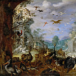 Roelandt Savery -- Landscape with Animals and Orpheus, Kunsthistorisches Museum