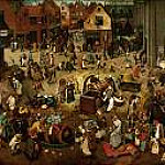 Brueghel, Pieter The Elder -- Битва карнавала и поста [The fight between carnival and lent] 1559, 118х165, Музей истории искусств Вена, Kunsthistorisches Museum