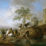 Riding school and horse watering place, Philips Wouwerman