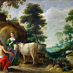 Io, transformed into a cow, is handed to Juno by Jupiter, David II Teniers