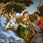 Lorenzo Lotto -- Virgin and child with Saints Catherine of Alexandria and James the Elder, Kunsthistorisches Museum