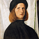 Portrait of a young man in front of a white curtain, Lorenzo Lotto