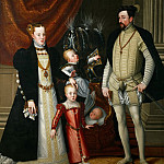 Kunsthistorisches Museum - Giuseppe Arcimboldi (c.1527-1593) -- Emperor Maximilian II (1527-1576), his wife Maria of Spain, and his children Anna, Rudolf and Ernst