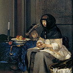 Gerard Terborch II -- The Apple Peeler, Kunsthistorisches Museum