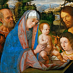 Andrea Previtali -- Holy Family with Saint James and John the Baptist and Two Donors, Kunsthistorisches Museum