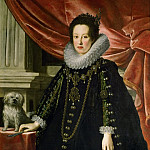 Justus Suttermans -- Archduchess Anna de Medici, with a puppy, knee length, Kunsthistorisches Museum