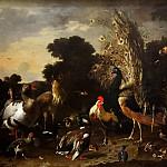 Melchior de Hondecoeter -- The poultry yard with rooster, peacock and turkey, Kunsthistorisches Museum