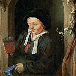 Adriaen van Ostade -- Woman at the Window with Jug and Beer Glass, Kunsthistorisches Museum