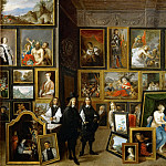 Archduke Leopold Wilhelm (with Teniers' self-portrait) among his works of art in the archduke's gallery in Brussels, David II Teniers