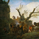 Philips Wouwerman -- Attack on a group of travellers, Kunsthistorisches Museum