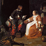 Lady and Officer, Gabriel Metsu