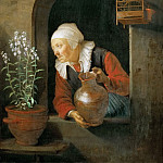 Gerrit Dou -- Old Woman at the Window Watering her Flowers, Kunsthistorisches Museum