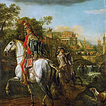 Bernardo Bellotto -- Equestrian Portrait of a Hussar Officer, Kunsthistorisches Museum