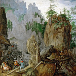 Roelandt Savery -- Mountain Landscape with Woodcutters, Kunsthistorisches Museum