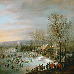 Kunsthistorisches Museum - Robert van den Hoecke (1622-1668) -- Skating in the Town Moat of Brussels