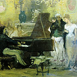 Henryk Semiradsky - Chopin playing the piano in the salon of Prince Radziwill in Berlin (sketch)