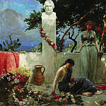 Girls on the terrace at the bust of Homer. 1890, Henryk Semiradsky