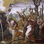 Moses Strikes Water from the Rocks, Raffaello Sanzio da Urbino) Raphael (Raffaello Santi