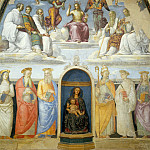 Raffaello Sanzio da Urbino) Raphael (Raffaello Santi - Holy Trinity Flanked by Six Benedictine Saints Above and Six Other Saints Below (jointly with Perugino)