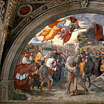 Stanza of Heliodorus: The Meeting of Leo the Great and Attila, Raffaello Sanzio da Urbino) Raphael (Raffaello Santi