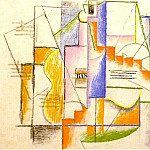 1912 Bouteille de Bass et guitare, Pablo Picasso (1881-1973) Period of creation: 1908-1918