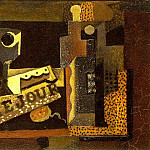 1914 Verre, journal, bouteille, Pablo Picasso (1881-1973) Period of creation: 1908-1918