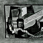 Pablo Picasso (1881-1973) Period of creation: 1908-1918 - 1917 Partition, bouteille de porto, guitare et cartes Е jouer