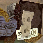 1913 Guitare, crГne et journal, Pablo Picasso (1881-1973) Period of creation: 1908-1918