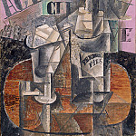 1912 table dans un cafe – bouteille de pernod, Pablo Picasso (1881-1973) Period of creation: 1908-1918