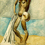 Pablo Picasso (1881-1973) Period of creation: 1908-1918 - 1908 Femme nue au bord de la mer (Baigneuse)