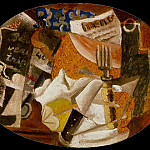 1914 Couteau, fourchette, menu, bouteille, jambon, Pablo Picasso (1881-1973) Period of creation: 1908-1918