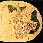 1914 Bouteille, verre, journal, Pablo Picasso (1881-1973) Period of creation: 1908-1918
