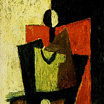 Pablo Picasso (1881-1973) Period of creation: 1908-1918 - 1918 Femme assise dans un fauteuil rouge