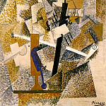 Pablo Picasso (1881-1973) Period of creation: 1908-1918 - 1914 Pipe, violon, bouteille de Bass