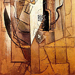 Pablo Picasso (1881-1973) Period of creation: 1908-1918 - 1912 Bouteille de Bass, guitare, as de trКfle