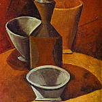 Pablo Picasso (1881-1973) Period of creation: 1908-1918 - 1908 Carafe et gobelets