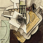 Pablo Picasso (1881-1973) Period of creation: 1908-1918 - 1915 Instruments et bol de fruits devant une fenИtre avec un avion