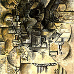 1911 GuВridon, verres, tasses, mandoline, Pablo Picasso (1881-1973) Period of creation: 1908-1918